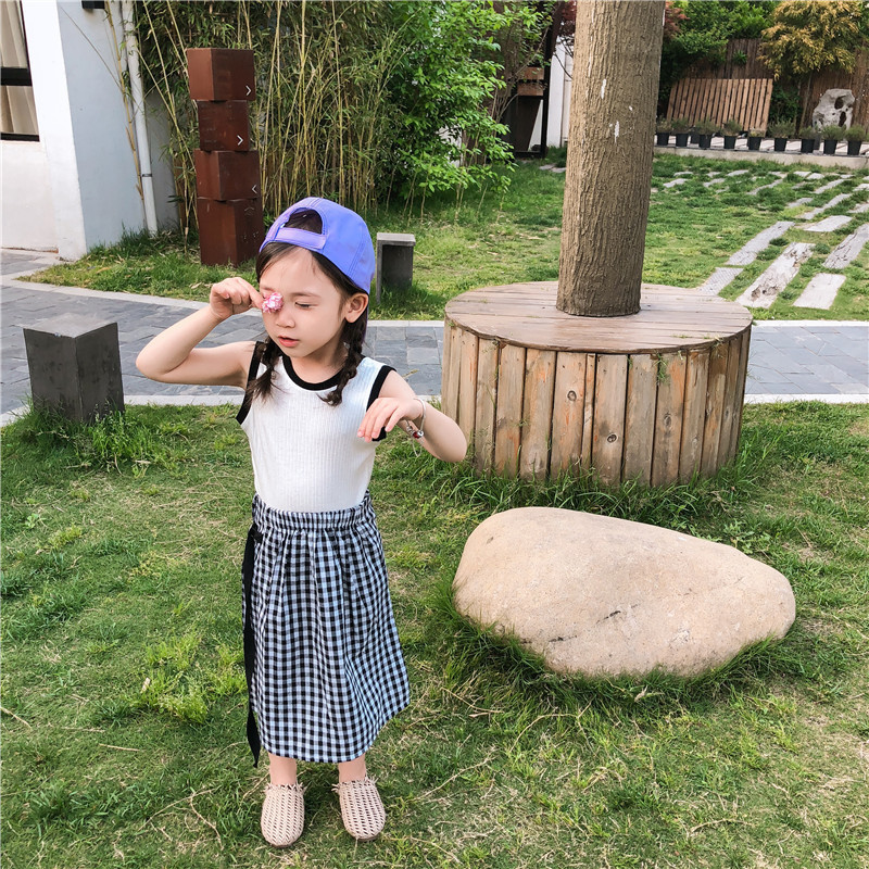 2019 children fashion summer casual suit vest + plaid skirt two-piece