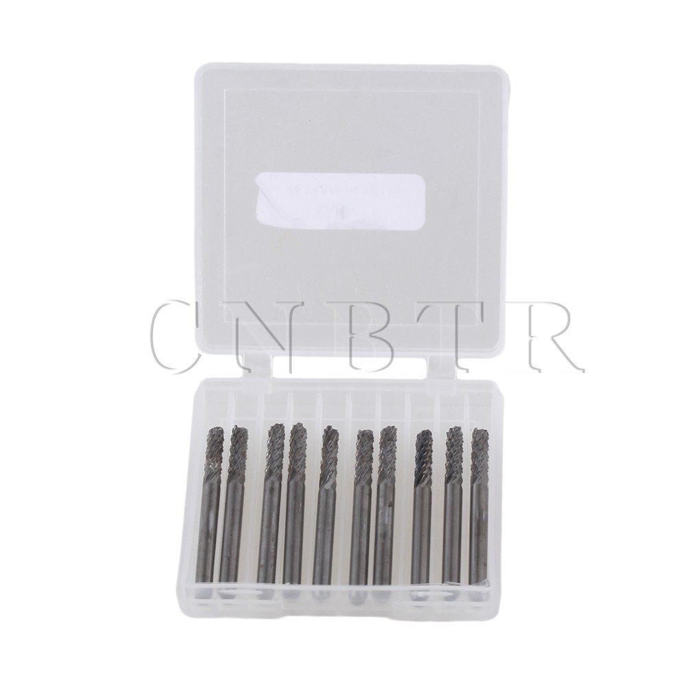 CNBTR 10 x 3.175mm Carbide End Mill Engraving Bits Mold 3.175mm Cutting Edge PCB CNC<br><br>Aliexpress