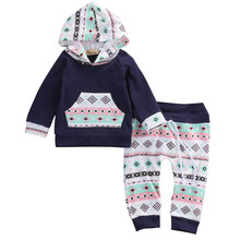 2pcs!!Newborn Baby Girl Boy Clothes Navy Blue Long Sleeve Hooded Tops T-shirt+Floral Pants Leggings Cotton Baby Outfits Set