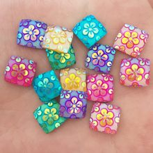 DIY 40PCS mix AB square Resin flower Flat back scrapbook Wedding craft buttons F043