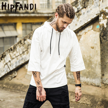 HIPFANDI Fashion Popular Europe And The United States Style T-shirts Pure Color Black White Khaki Three Quarter Hooded T-shirts