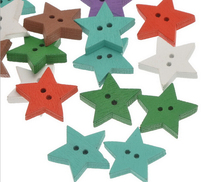 50pcs New Colorful  Star Scrapbooking  2 Holes Wooden Sewing  Buttons AE03049