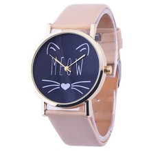 10 Color Women Designed Cat face pattern Leather Band Analog Quartz Vogue Wrist Watches women watches 2016