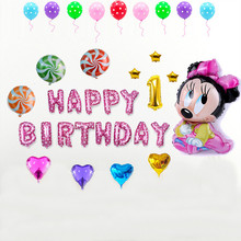 35 pcs/lot Pink Blue Happy Birthay Balloons Minnie Mickey Mouse Birthday Party Decoration Kids Globos Ballons Customize Number