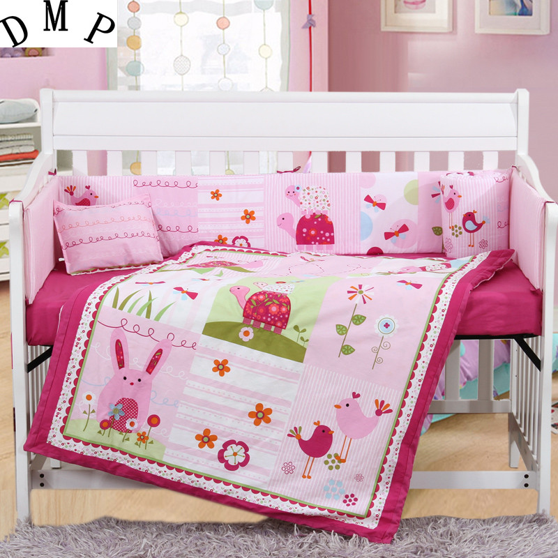 7PCS Embroidery cot baby set cot bedding set cotton baby cot sets baby bed bumper,include(bumper+duvet+sheet+pillow)