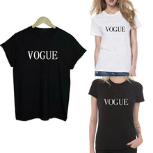 Fashion Summer Black White S-XL Casual Girl Solid Tops O-Neck Short Sleeve VOGUE Letter Print T Shirt Women's Clothing