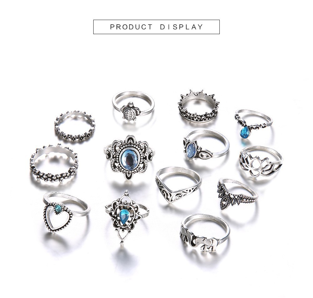 Bague Femme Vintage Rings for Women Boho Geometric Flower Crystal Knuckle Ring Set Bohemian Midi Finger Jewelry Silver Color 42