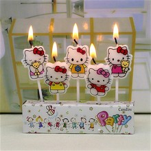 5Pcs Birthday wedding Cake Candles hello kitty Lovely Cartoon Birthday Cake Candles Assorted Colored Flames Safe Taper Party