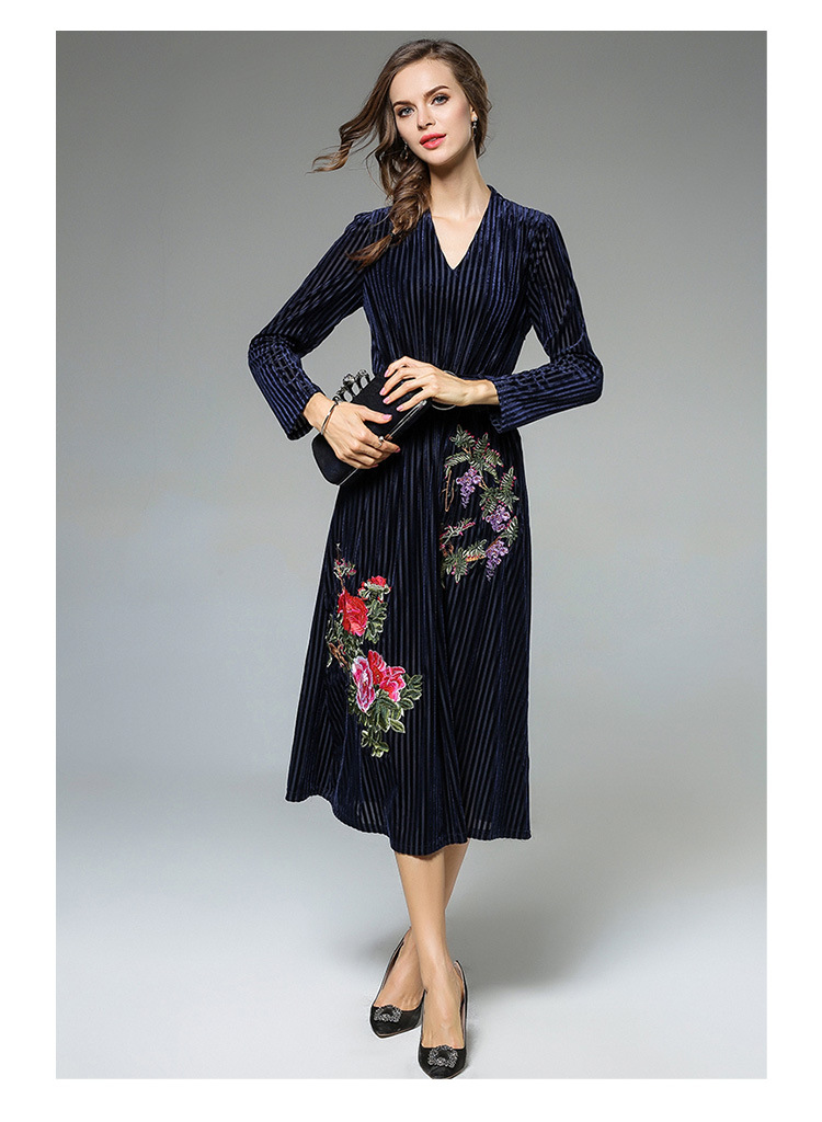 Heavy Embroidery Women Dress High-End Fashion Celebrity-Inspired Dresses Long Sleeve Autumn Robe Belted Vintage Style Vestidos (9)