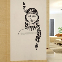 Native American Girl Wall Stickers Home Decor Living Room Large Size Wallpaper Vinyl Art Mural Indian Removable Decals YY217(China)