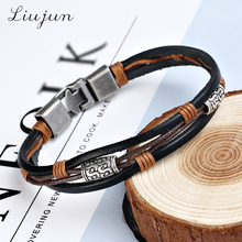 bracelets men 2016 new Hot fashion jewelry genuine leather Stainless steel brown Bracelet men's Vintage Bracelets & Bangles(China)