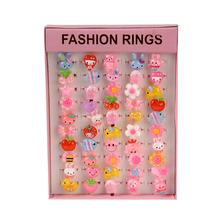 50Pcs Mix Cartoon Plastic Rings Lot for Kids Children Candy Color Flower Animal Finger Rings Birthday Gift Pink Square Box