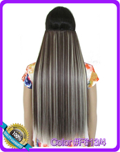 24inch 60cm 130g straight hair extension Heat resistant synthetic clip in hair extensions Color #F613/4
