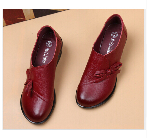Spring Autumn Fashion Loafers 100% Genuine Leather Single Shoes Soft Casual Flat Shoes Women Flats mother shoes<br>