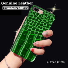 Back Case For Apple iPhone 7 6 6s Plus 5 5s SE Top Quality Crocodile Texture Genuine Leather Customize Phone Cover + Free Gift