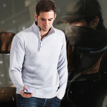 Game Causal Watch Dogs Aiden Pearce Sweater Cosplay Costume Knitted Warm Loose Stand Collar Clothes For Men(China)