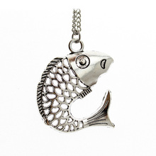 "Trusta New Hot Vintage Silver Tone Hollow Out Fish Pendent 1.7""X1.7"" Necklace 20"" Women Jewelry Wholesale DY140 Free Shipping"