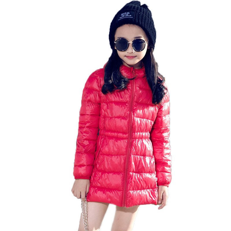 kids clothes winter jackets for girls long style children winter jackets for girls solid slim hooded kids cotton padded coat<br>