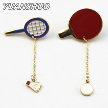 New fashion sports enamel badminton/ping-pong racket badges Women brooch 2016 manufacturers wholesale and direct sales