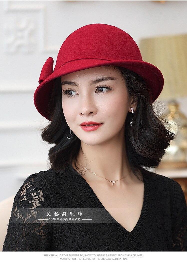 315531acf06 Beckyruiwu Women Winter 100% Wool Felt Hats Lady Party Formal Up ...