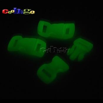 "5pcs/Pack 3/8"" (10mm) Plastic Buckle Curved Paracord Bracelet Glow In the Dark Dog Cat Collar Backpack Strap Webbing #FLC003-L"