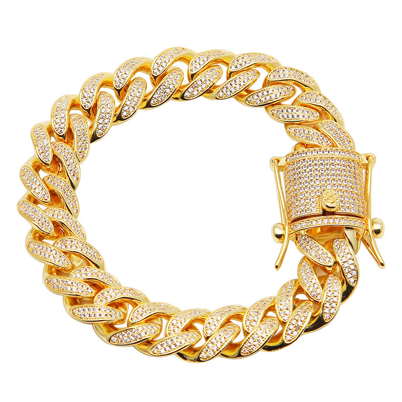 "13mm 8.5"" Hip Hop Zircon CZ Stone Paved Bling Iced Out Cuban Link Chain Bracelets for Men Rapper Jewelry Gold Silver Gift"
