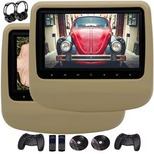 Game Handle 2PCS Car DVD Player Headrest Pillow LCD Wide Digital Screen Auto Monitor Included support USB SD IR FM Transmitter(China)