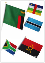 handshaking Zambia Centrual African Botswana Angola South Africa Flags with plastic poles, 14*21 cm