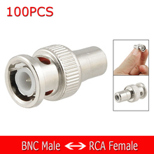 100Pcs BNC Male to RCA Female Coax Cable Connector Adapter Plug for CCTV Camera(China)