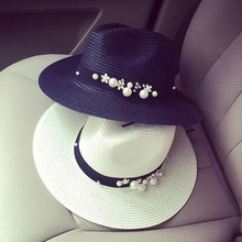 2017 Flower Pearl Summer Hats for Women Wide Brimmed straw hat Outdoor Beach Panama Hat Feminino Sun Visor Beach Hat