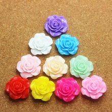 100pcs 20mm Mix Colors Resin Rose Flower Flatback Cabochon DIY Scrapbooking Decorative Craft Making(China)