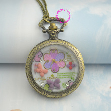 new fashion low price good quality woman lady girl gift bronze colorful polymer clay butterfly pocket watch necklace hour Long(China)