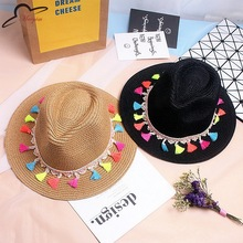 Fashion candy fringed visor Straw Summer Beach Sun hat straw hat male and female couple summer shade Jazz Panama Hat Chapeu(China)