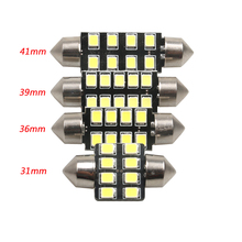 10 PCS 31mm 36mm 39mm 42mm C5W DC12V CANBUS NO ERROR 12 4014 LED Chips White Color Car LED Bulbs Auto Lamp Interior Dome Light