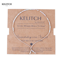 KELITCH Jewelry 1Pcs Beige Import Crystal Seed Beads Romantic Handmade Adjustable Friendship Bracelets For Best Friends Gifts(China)