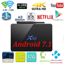 [Genuine] X92 2GB/3GB 16GB/32GB Android 7.1 TV Box Amlogic S912 Octa Core KD player 16.1 loaded 5G Wifi 4K Smart X92 Set Top Box(China)