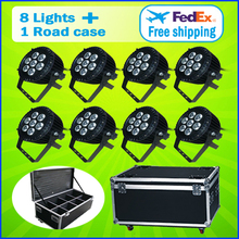 8 Lights + 1 Flight Case  7*15W RGBWA 5IN1 Outdoor Led Par Cans Light Led Par 64 Led 7x15 DMX Led Par Stage Lighting Effect