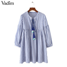 Vadim women sweet color fur balls tie striped dress V neck lantern sleeve ladies casual summer mini dresses vestidos QZ3097 - vadim Official Store store