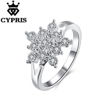 CZ STONE sunflower cute 2017 CYPRIS New Fashion wholesale price big sale finger ring silver plated stamp women lady gift xmas