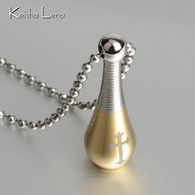 Keisha Lena Fashion 316L Stainless Steel cross Perfume Bottle Necklaces& Pendants Christmas Jewelry 3 color