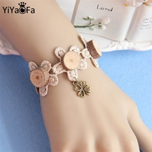 YiYaoFa Handmade Women Accessories Lace Bracelet & Bangle Wood Chips Four Leaf Clover Bracelet For Women WS-296
