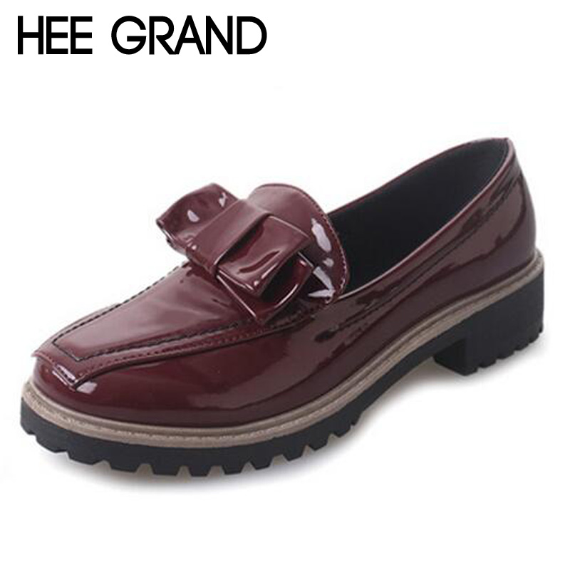 HEE GRAND Spring Oxfords Casual Bowtie Loafers Platform Shoes Woman Slip On Creepers Patent PU Leather Women Flats Shoes XWD5437<br><br>Aliexpress