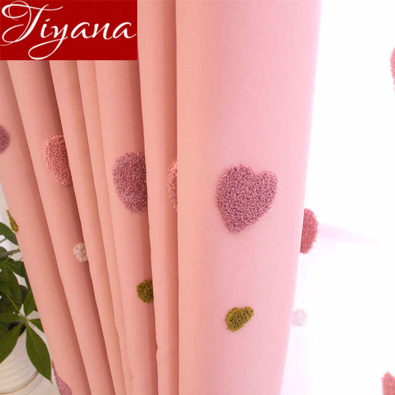 Pink Love Curtain for Girl Baby Room Cartoon Shade Drapes Sheer Voile Fabrics for Window Bedroom Treatment Tulle Curtain X521#30