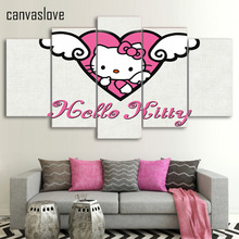 Canvas Painting Printed 5 Pieces Cartoon Hello Kitty Wall Art Canvas Pictures For Living Room Bedroom Modular Home Decor ny-180