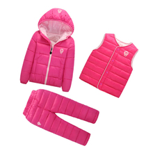 Children Set Boys Girls 3 Pcs Hoody Down Waterproof Jacket + Trousers+Vest Winter Baby Snow Warm Outdoot Suits(China)