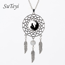 SUTEYI 2017 Style Horse Necklace Yin Yang Black and White Animals Art Glass Jewelry Dream Catcher Pendant Dreamcatcher Necklace