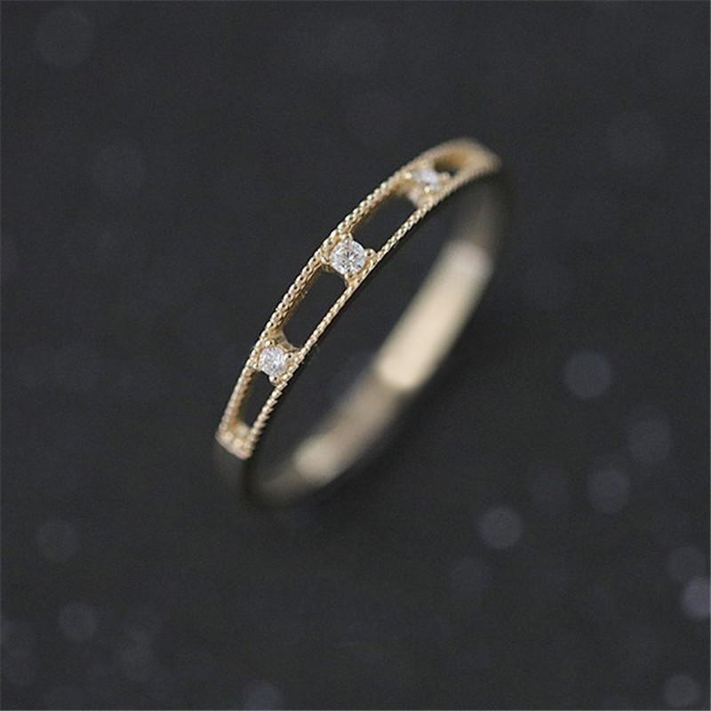 Female Zircon Ring Wedding Jewelry Gold Color Hollow out Design Crystal Rhinestone Rings for Women Gifts bague femme C25