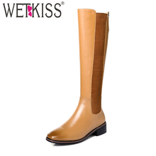 Buy WETKISS Elastic Band Knee Boots Comfortable Genuine Leather Autumn Winter Boots Side Zipper Female Shoes Woman Square Heel 2018 for $61.40 in AliExpress store