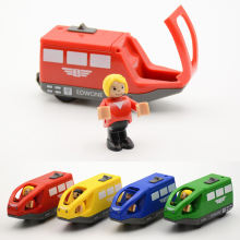 4 Colors Kids Electric Train Toys 11*5.5CM Magnetic Wooden Slot Diecast Electronic Vehicle Toy Birthday Gifts For Children Kids(China)