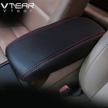 Vtear For ix25 hyundai creta armrest box protection leather cover interior accessory car-styling decoration black thread 2015-18